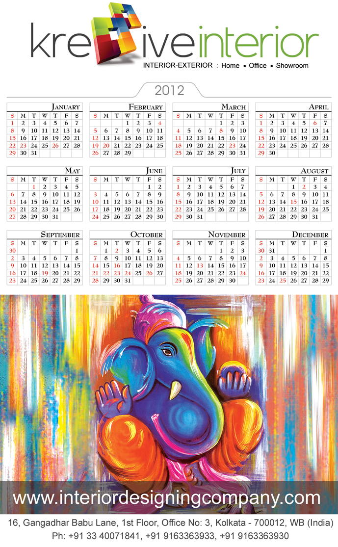 Interior Designing Compnay Calender for the Year 2012